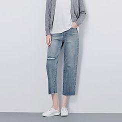 BORAN - Cropped Wide Leg Jeans