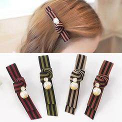 CHOIX - Faux Pearl Bow Hair Clip