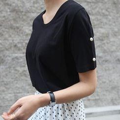 STYLEBYYAM - 仿珍珠袖T恤