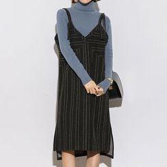Heynew - 细条纹吊带连衣裙