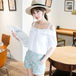 Tokyo Fashion - Off-Shoulder Ruffled Check Blouse
