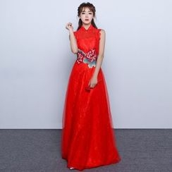 Luxury Style - Flower Embroidered Wedding Qipao