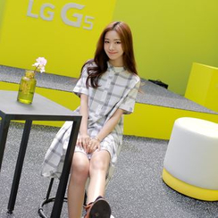 WITH IPUN - Mandarin-Collar Check Shirtdress