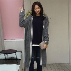 QNIGIRLS - Open-Front Contrast-Trim Long Cardigan