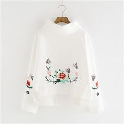 Storyland - Mock-Neck Embroidered Pullover