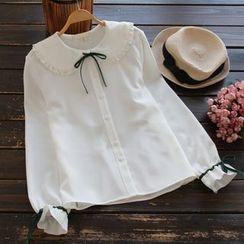 YOYO - 荷叶边蝴蝶结衬衫