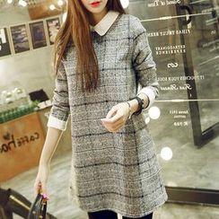 Ashlee - Lace Panel Plaid Knit Dress