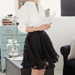 Dowisi - Set: Bow-Back Shirt + Floral Print Sheer Skirt