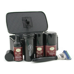 The Art Of Shaving - Travel Kit (Sandalwood): Razor+ Shaving Brush+ Pre-Shave Oil 30ml+ Shaving Cream 50ml+ A/S Balm 30ml+ Case