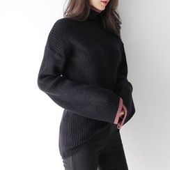 WITH IPUN - High-Neck Rib-Knit Sweater