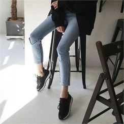 QNIGIRLS - Cuffed-Hem Skinny Jeans