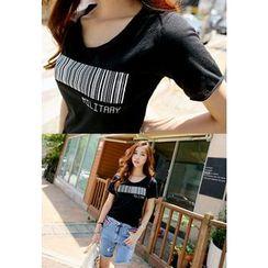 REDOPIN - Bar Code Print T-Shirt
