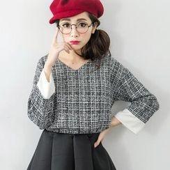 Tokyo Fashion - Long-Sleeve V-Neck Plaid Tweed Top