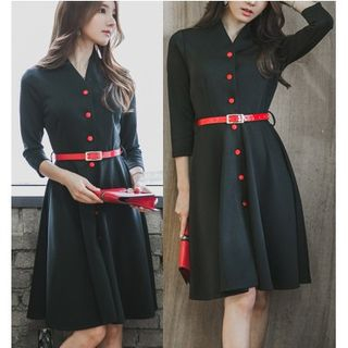 Dowisi - Two-Tone Long-Sleeve Collared Dress
