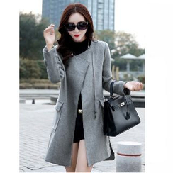 Romantica - Wool Blend Pocket-Accent Zip-Side Coat