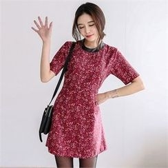 JVLLY - Faux-Leather Trim Pattern Mini Dress