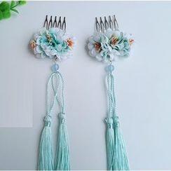 Kiyoha - Ancient Tasseled Flower Hair Comb Set