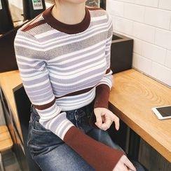 mimi&didi - Crew-Neck Striped Slim-Fit Knit Top