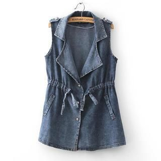 JVL - Drawstring-Waist Lapel Denim Vest