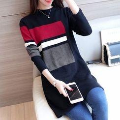 Ageha - Color Block Knit Tunic