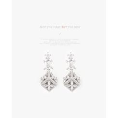 Miss21 Korea - Rhinestone Openwork-Cube Dangle Earrings