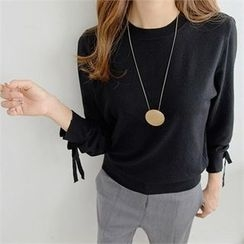 PIPPIN - Long-Sleeve Tie-Cuff Knit Top