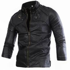Constein - Faux Leather Biker Jacket