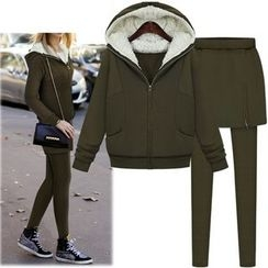 Coronini - Set: Hooded Zip Jacket + Legging Inset Skirt
