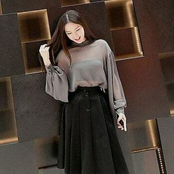 Fashion Street - Long-Sleeve Chiffon Blouse