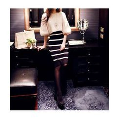 Lovi - Set: Elbow-Sleeve Sweater + Striped Knit Skirt