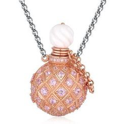 MBLife.com - Left Right Accessory - 925 Sterling Silver Perfume Bottle Paved with CZ Necklace (28 Inches)