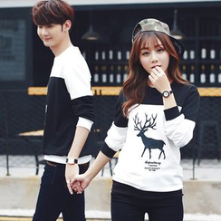 CASSY - Color-Block Printed Couple Matching Pullover