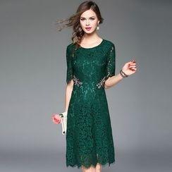 Queen Mulock - Short-Sleeve Lace Dress