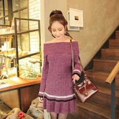 Cherryville - Off-Shoulder Knit Mini Dress