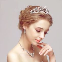 Puru Lia - Bridal Set: Rhinestone Tiara + Necklace + Earrings