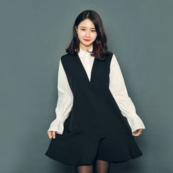 HOTPING - Inset Shirt Ruffle-Hem Dress