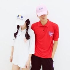 Cerauno - Couple Matching Heart Print Polo Shirt