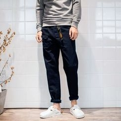 YIDESIMPLE - Gather-Hem Slim-Fit Pants