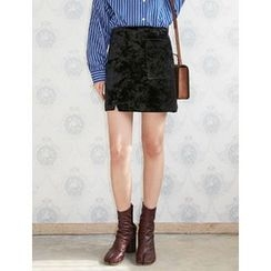 FROMBEGINNING - Velvet A-Line Mini Skirt