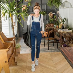 OrangeBear - Ripped Skinny Denim Jumpsuit