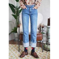 GOROKE - Cuff-Hem Washed Straight-Cut Jeans