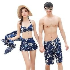 Hokit - Couple Matching Bikini Set / Beach Shorts