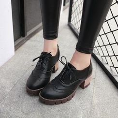 Pretty in Boots - Block Heel Lace Ups