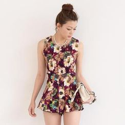 SO Central - Sleeveless Pleated Floral Playsuit