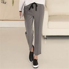 CHICFOX - Drawstring-Waist Straight-Cut Pants