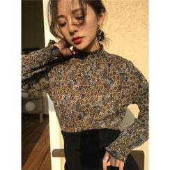 Eva Fashion - 皺摺邊碎花長袖上衣