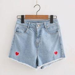 PANDAGO - High Waist Denim Shorts