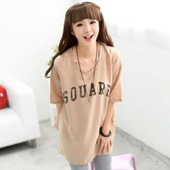 59 Seconds - Short-Sleeve Oversized Lettering T-Shirt