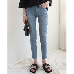 NIPONJJUYA - Slit-Trim Slim-Fit Jeans