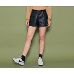 HOTPING - Band-Waist Faux-Leather Shorts